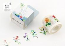 Free Shipping 4cm*10m  Wide Beautiful Flower  Washi Tape /Box packing/ Adhesive Tape DIY Scrapbooking Sticker Label Masking Tape