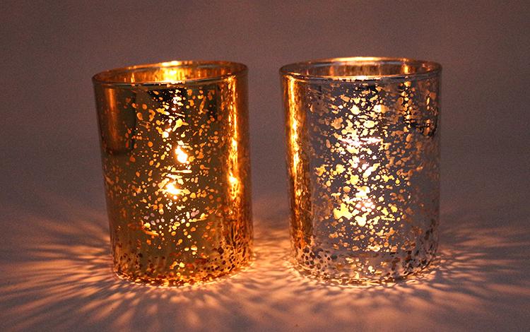 2019 gold & silver mercury decoração castiçais luz do chá para o presente de casamento