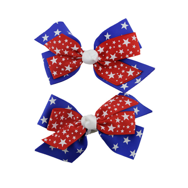 New style American National Day hair bow 5 inch flag printed ribbon bow with hair clips