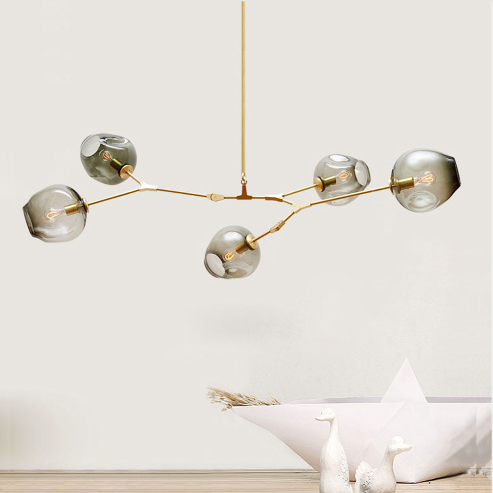 2017 The most popular Lindsey <strong>Modern</strong> glass lighting Luxury pendant lamps with clear globes in vintage brass WF-121-5D