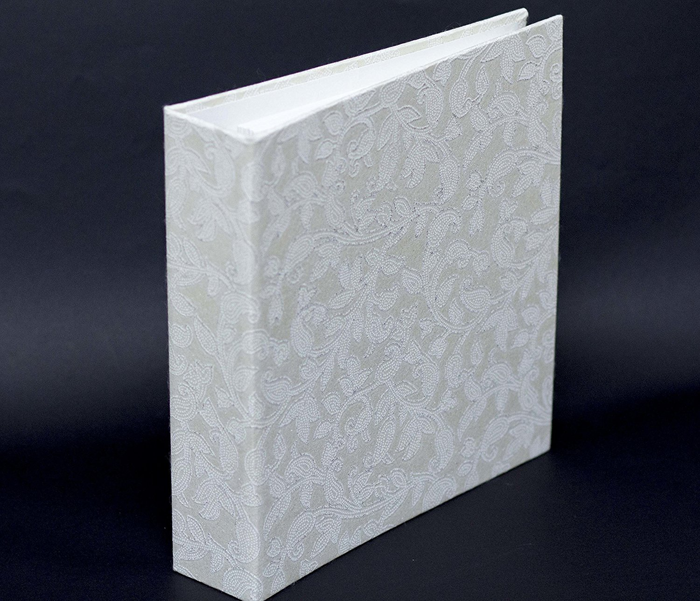 "K11 Photo Design Photo Album Scrapbook 160 4x6 pictures, 80 pages 40 sheets Kraft, Wedding Photo Album, Guest Book, Gliter Handmade Paper, Eco friendly, 9.9"" x 9.25"" inches. (White Gliter Kraft)"