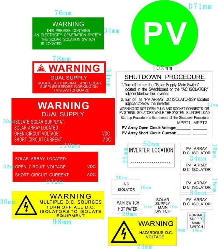 Nsw Qld Solar Warning Label Kits Solar Panel Kits Solar