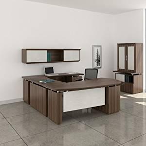 "Mayline 72"" L-Shaped Desk W/Wall Mount Hutch Desk: 72""W X 108""D X 29.5""H Wall Mount Hutch: 72""W X 16.5""D X 16.5""H 1 5/8"" - Textured Brown Sugar - Bridge on Right (Shown)"