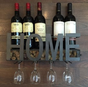 Wall Mounted Metal Wine Glass Rack with Wine Cork Holder