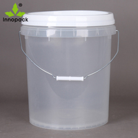 Clear 20 liter Plastic Round Paint Pail/Bucket with Lid and Handle
