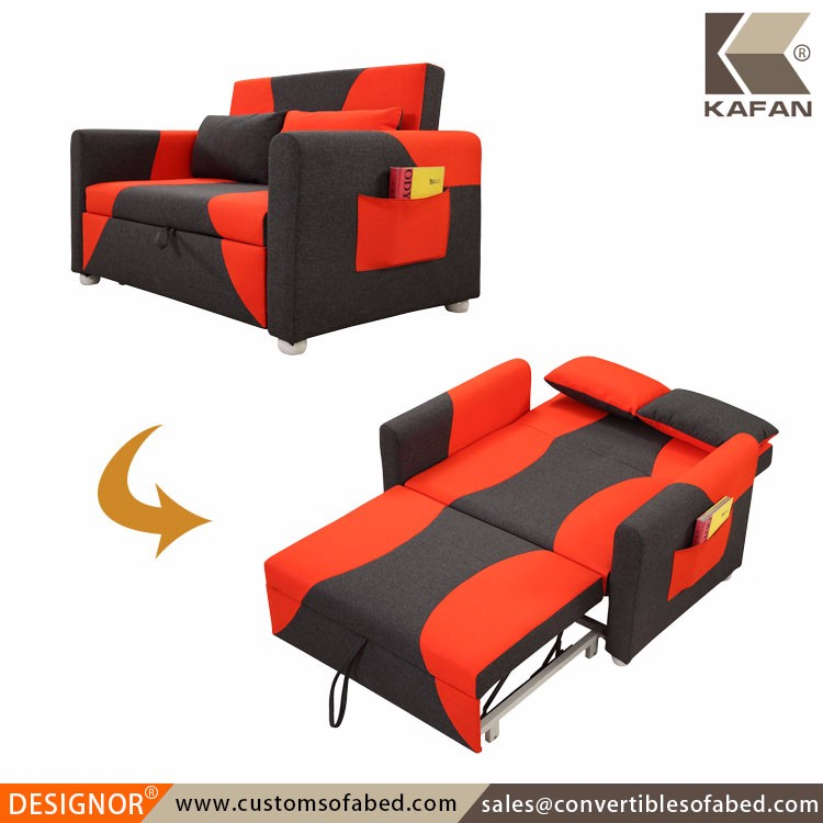 Red fabric loveseat modern small twin sofa bed