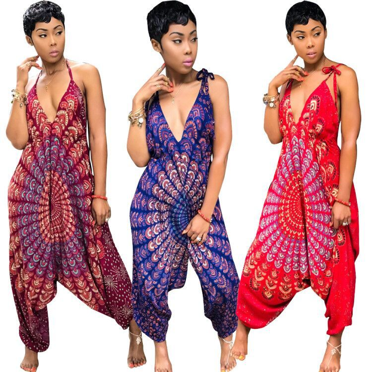 Wholesale 2019 Newest women printed deep V backless wide leg jumpsuit SA3328