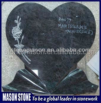 Carved rose bahama blue granite headstone with heart shaped monument stone