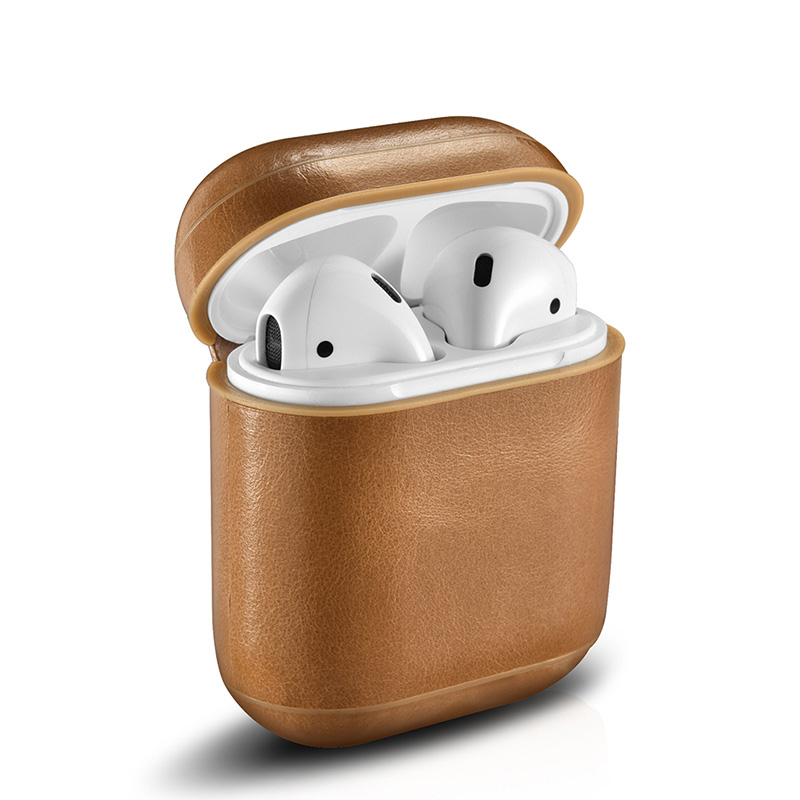 ICARER Top Sale Leather Wireless Earphone Protective Cover for Air Pods Leather Case for AirPods фото