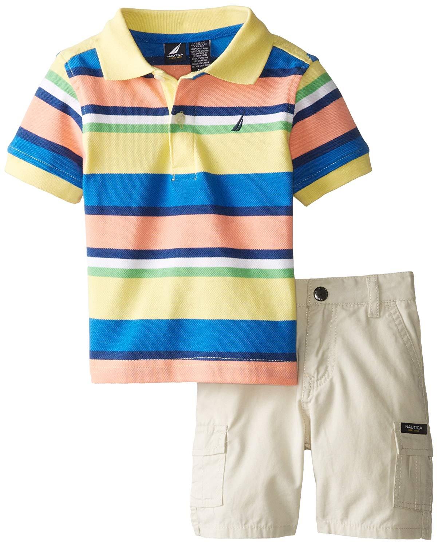 Nautica Baby Boys' 2 Piece Pique Multi Stripe Polo with Cargo Short