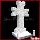 Carved White Marble Cross Shaped Headstone