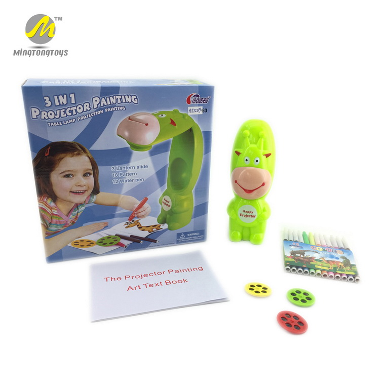 Children educational 3 in 1 projection drawing machine cartoon drawing projector toy