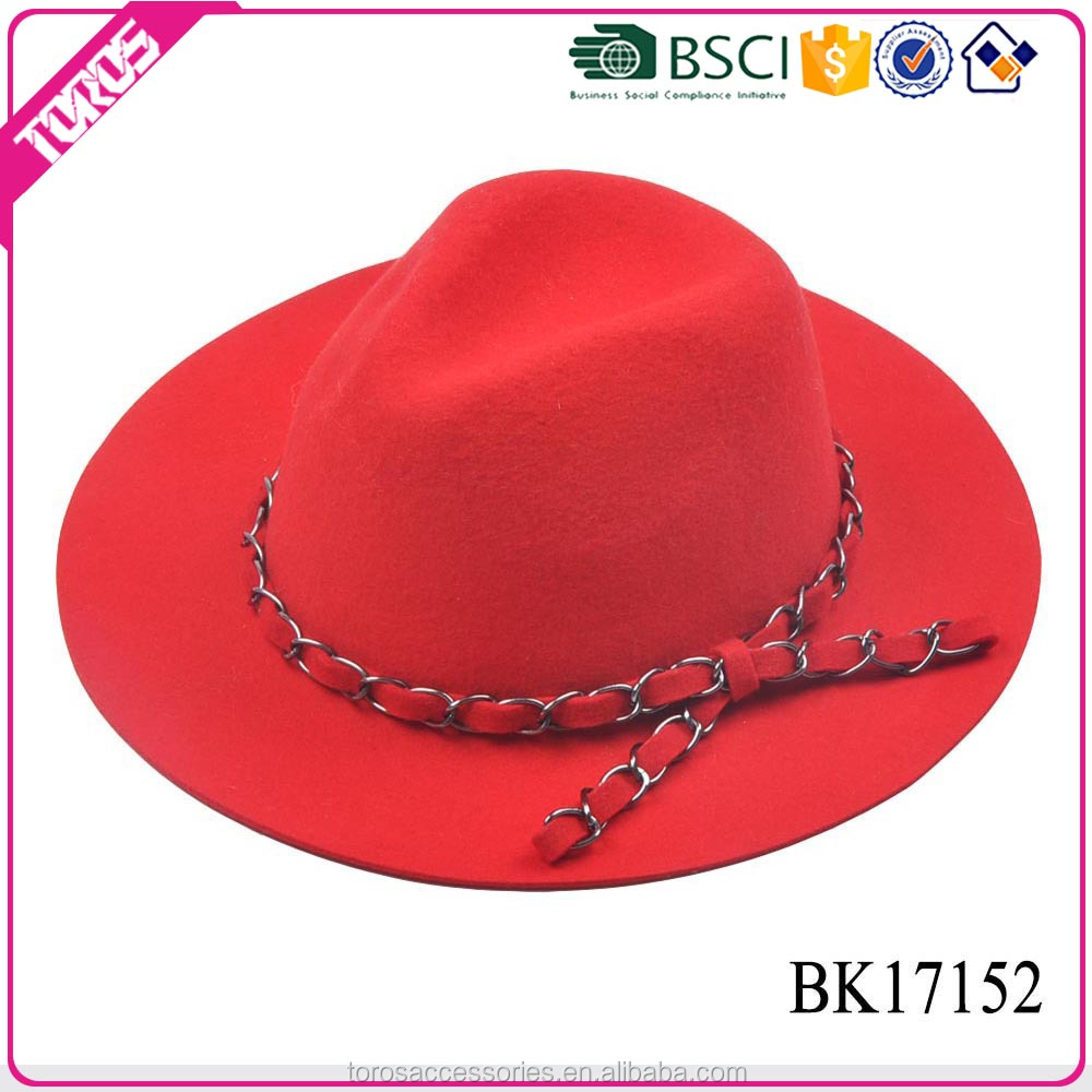 TOROS Best design professional beautiful lady 100% wool felt decorate fedora hat