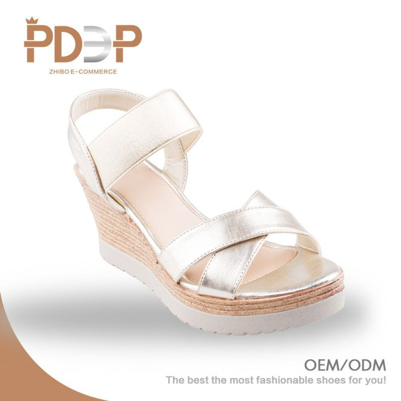 Soft PU material durable fashion girls high platform heel sandals