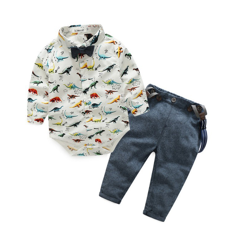China Suppliers Boys Clothes White Long Sleeve Dinosaur With Bow Tie Boys Overalls фото