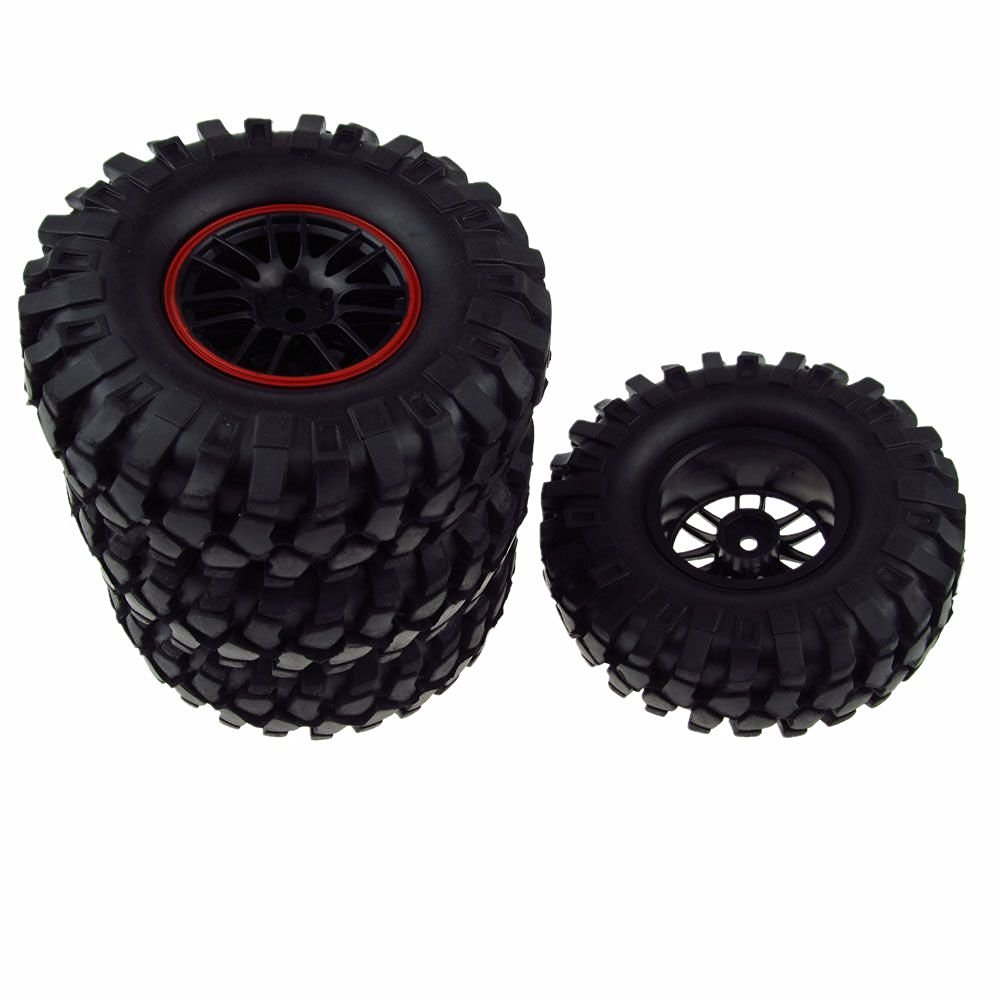 JIUWU RC 1:10 Rock Crawler Rubber Tires & Plastic Double 7 Spoke Wheel Rim Pack of 4