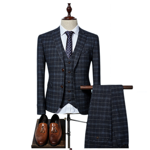 England Style High End Quality Formal Business Office Plaid Three Piece Suit Man