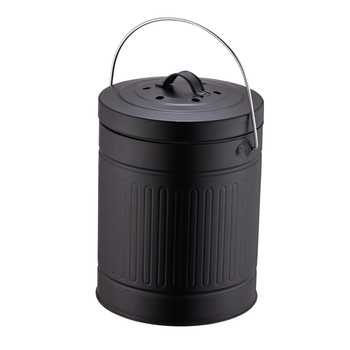 Home black round shape unique kitchen recycle food metal compost bin