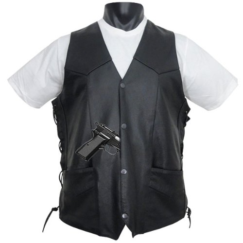 Tall Size Concealed Carry Classic Biker Leather Vest XL