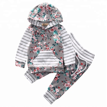 677704ddf42c Baby Girls Striped Floral Long Sleeve Pocket Hoodie Pullover ...