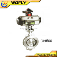 pneumatic actuated viton seat butterfly valve dn500