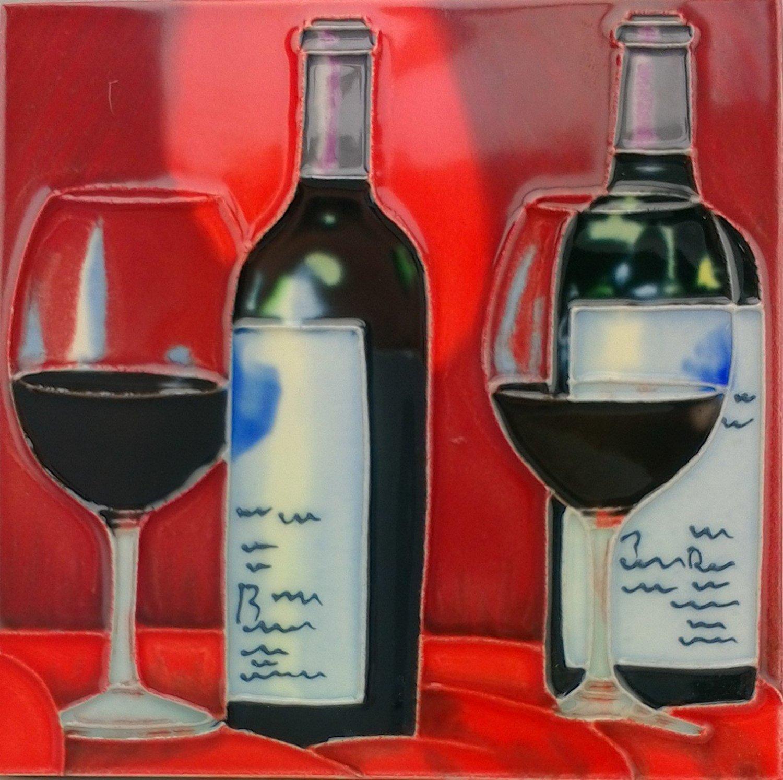 Buy Tile Craft Trivet Red Wine Bottles And Glasses Ceramic Art Tile 6 X 6 In Cheap Price On Alibaba Com