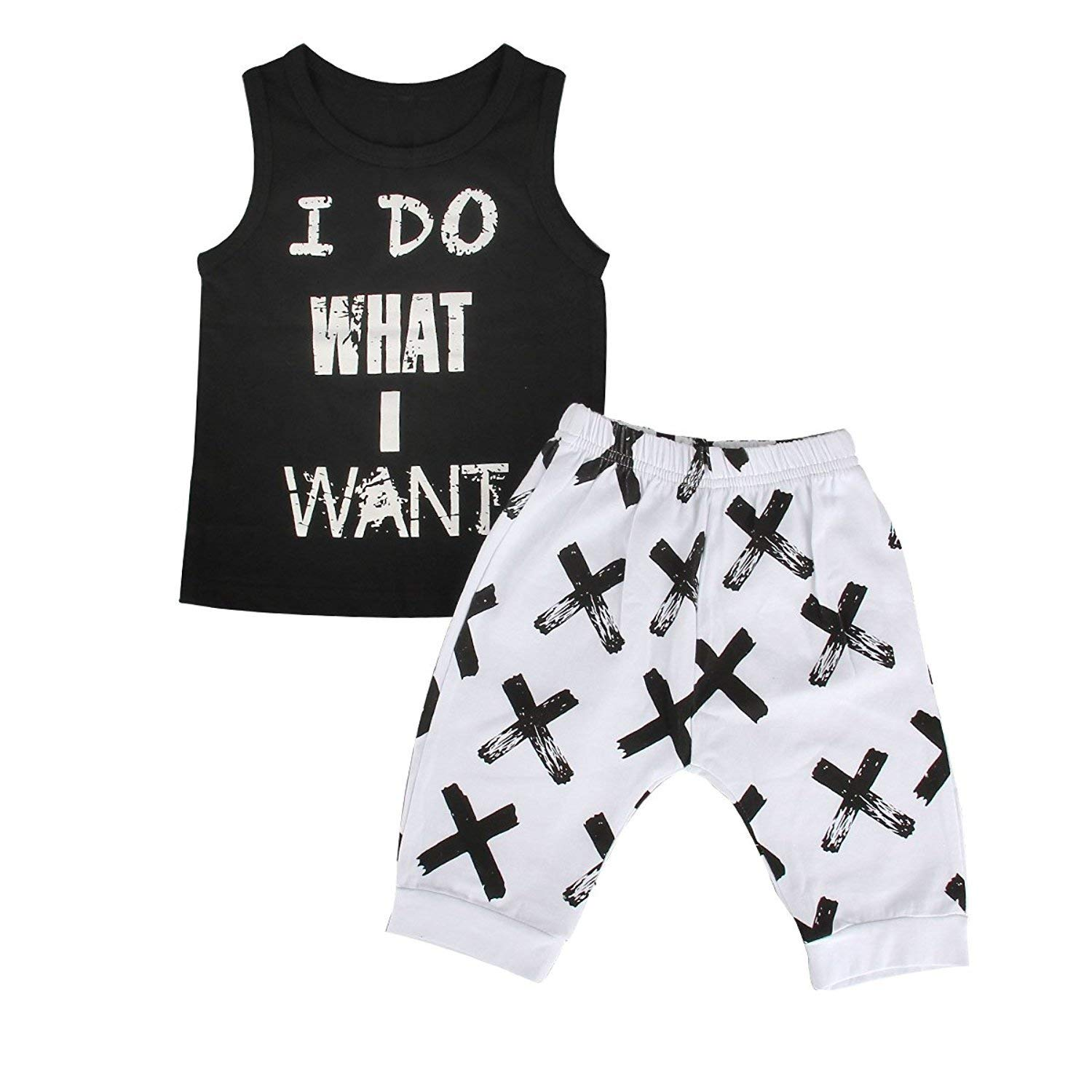 16cf968c0 Get Quotations · Gprince Little Boys Summer Cool Sleeveless Vest Tank Top  and Shorts Pants Outfits Sets