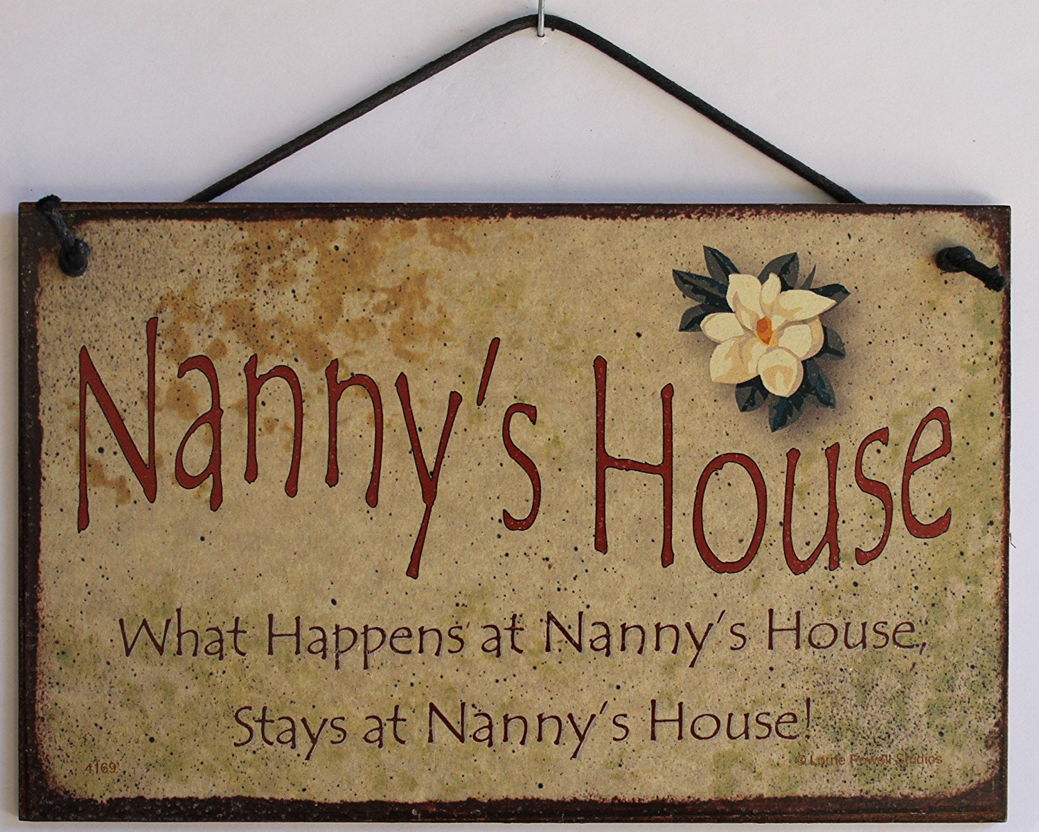 "5x8 Vintage Style Sign with Magnolia Saying, ""Nanny's House What Happens at Nanny's House, Stays at Nanny's House!"" Decorative Fun Universal Household Signs from Egbert's Treasures"