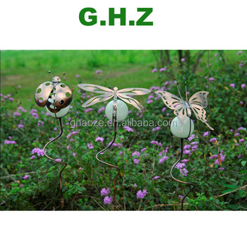 Glow In The Dark Metal Ladybug Garden Decor Metal Crafts Garden Decoration  Factory