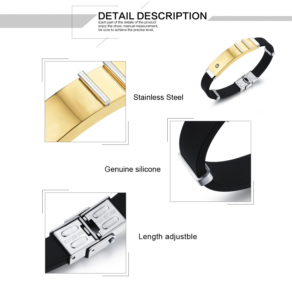 High Quality Fashion Stainless Steel Engraved Personalized Silicone Bracelets