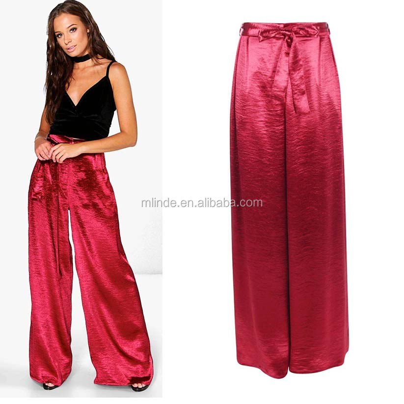Ladies Long Pants Trousers Fashion Wide Leggings Flare Women Palazzo Pants Tie Waist Satin Woven Wide Leg Trousers