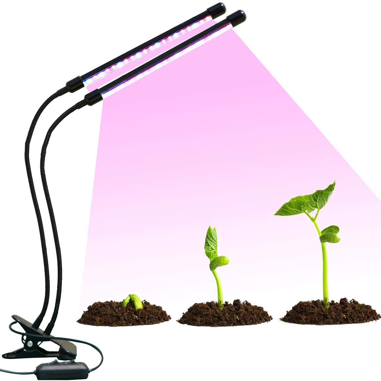 18W Led Grow Light,YOUDUO Multiple Timing Range and 4 Dimmable Levels Plant Grow Lights for Indoor Plants with Red/Blue Spectrum,Adjustable Gooseneck,3 Switch Modes,Auto Turn on/Off