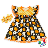 Children Frocks Designs Party Morden Dress Cap Ruffle Sleeve Dresses For Kids Wear