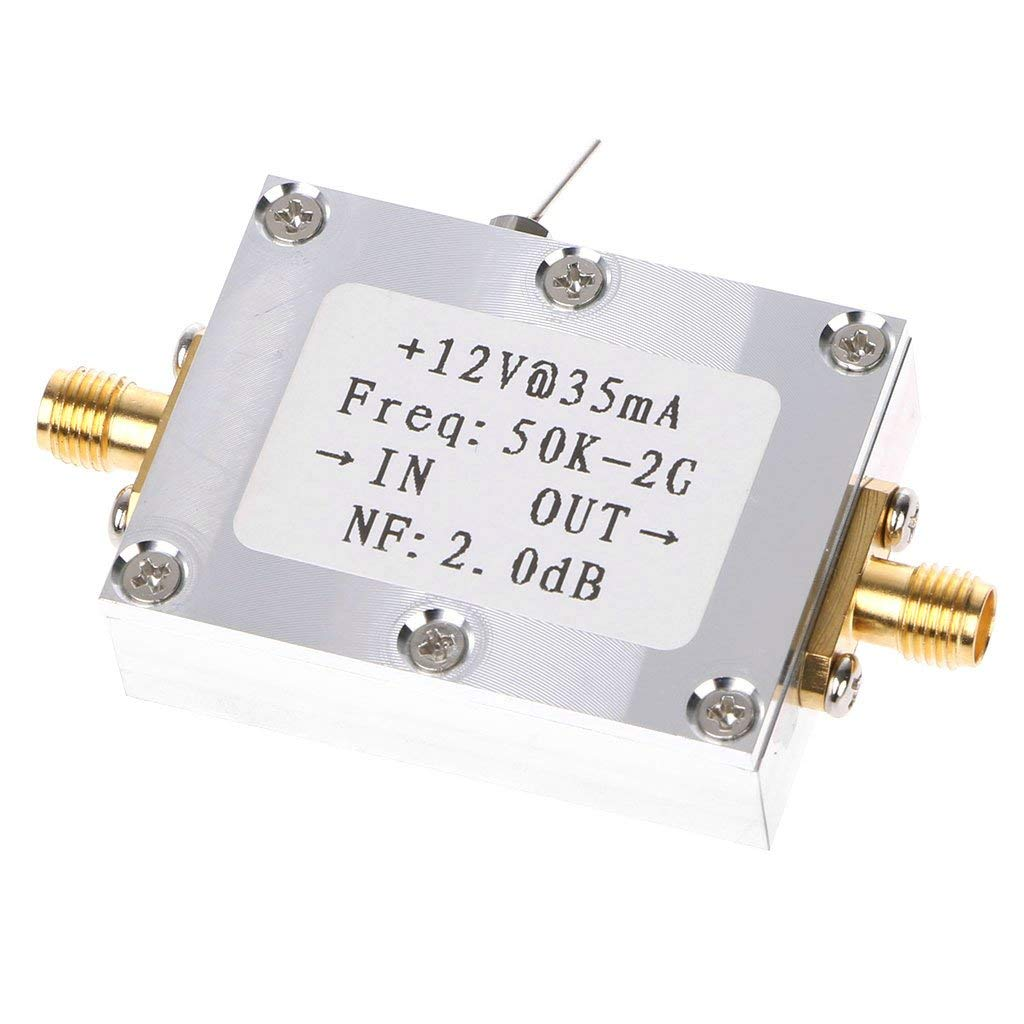Qisuw RF Amplifier Signal Receiver 50K-2GHZ Low Noise Amplifier RF Amplifier Broadband Low Noise Amplifier LNA Gain 31DB Gain