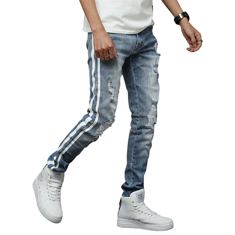 Men/'s Zipper Ankle Skinny Jeans Distressed Ripped Destroyed Wash Denim Fashion