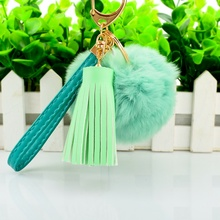 Fashionable Leather Keychain Rabbit Fur Bag Charm Fur Tassel keychain