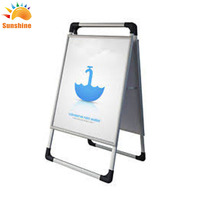 Custom aluminum Flooring Advertising Display Outdoor Menu Poster Stand for Restaurant
