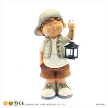 Little Boy Garden Statues Solar Power Garden Lamp