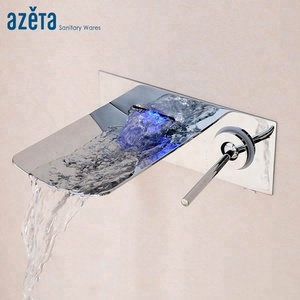 Single Handle Hot Cold Water Mixer Taps For Wash Basin Artistic Brass Color Changing LED Light Waterfall Bathroom Faucet