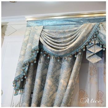 volant kralen ontwerp blauw witte kleur zware stof jacquard gordijnen