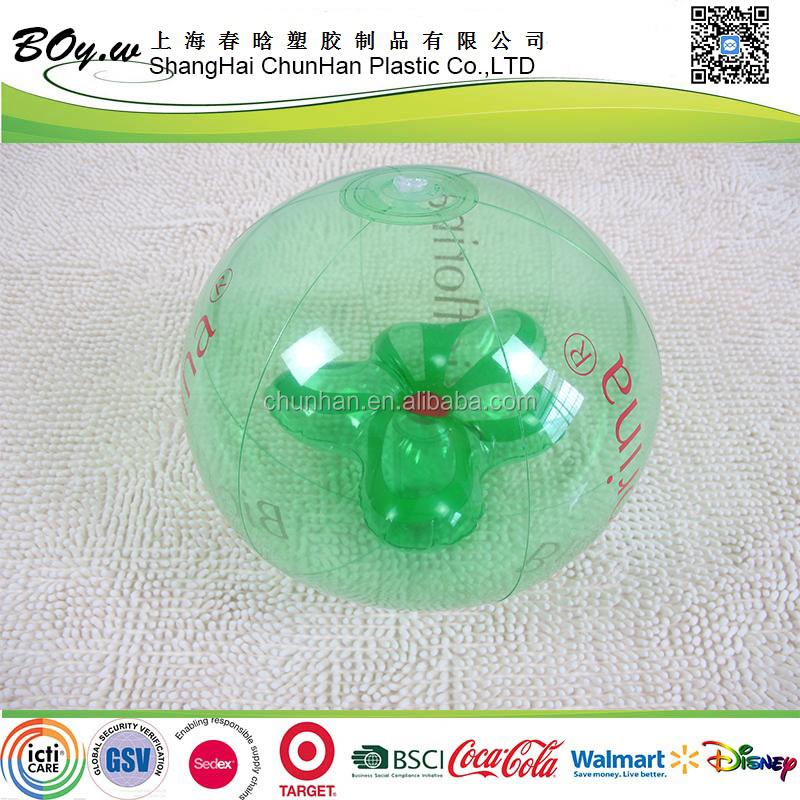 OEM plant inside green transparent inflatable beach ball