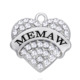 Silver Stone With Letter MEMAW White/Pink Color Crystal Heart Charm alphabet Pendant charms for jewelry making