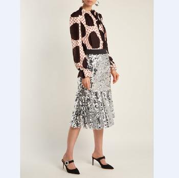 b27a600179 Últimas Falda larga diseño Shein Mujer Faldas Maxi de plata lentejuelas  bordado elástico en la cintura