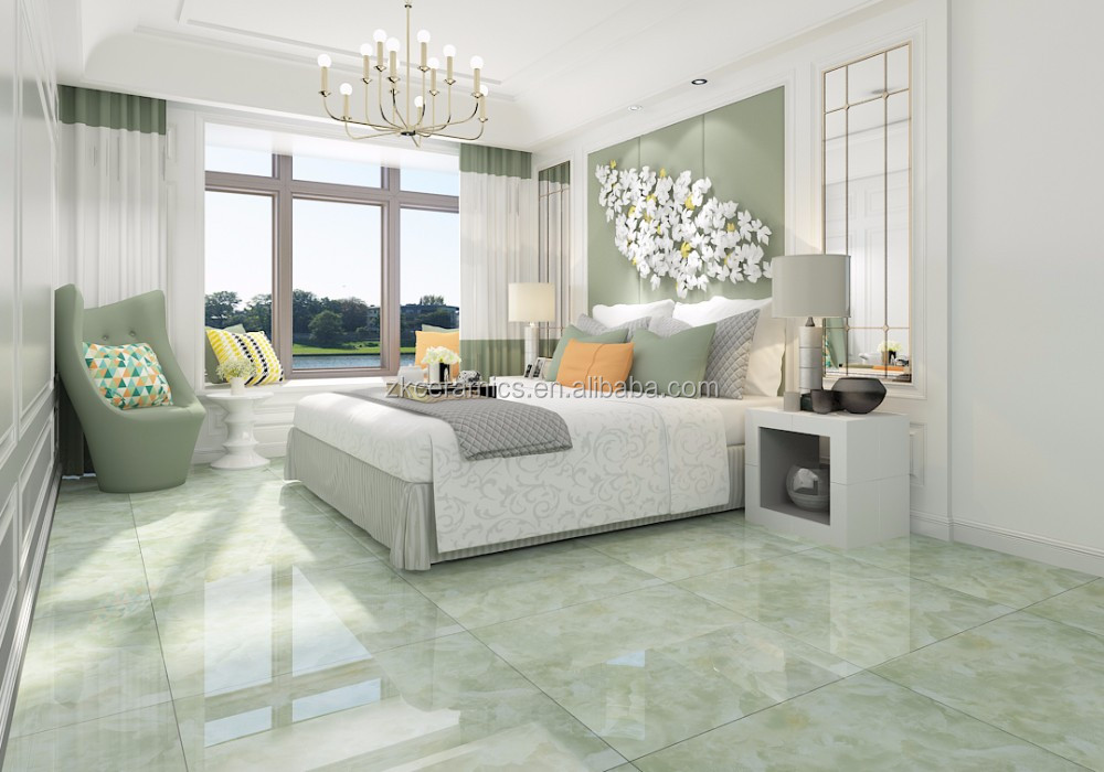Marble Look Glazed Apple Color Light Green Ceramic Floor Tiles