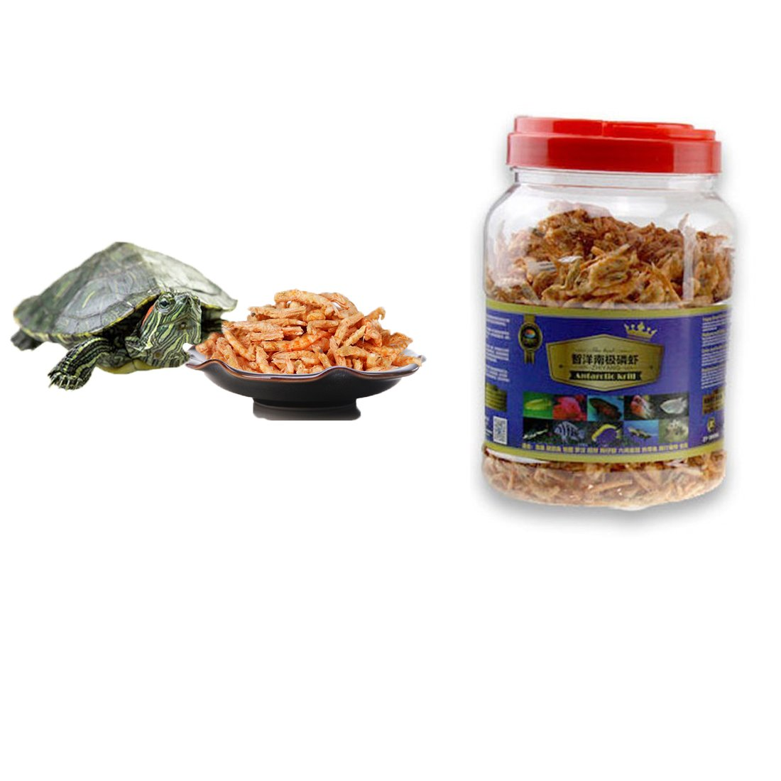 3000ml Aquatic Turtle Food,101.44 oz, Floating Shrimp Krill Freeze Dried for Reptile Aquarium Pond Fish Koi Cichlid Feed