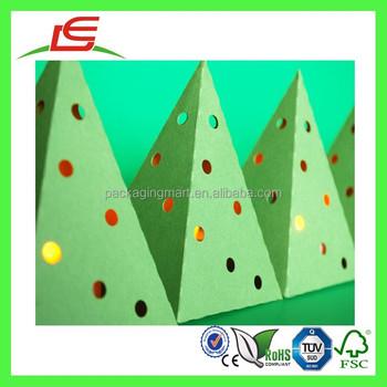 q1077 green christmas tree storage box with holes favor box tea light box wholesale