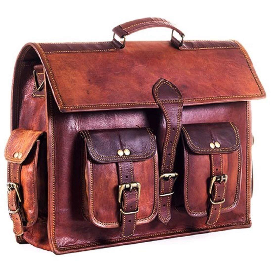 Leather Saddler Genuine Leather handmade laptop notebook messenger bag Size 15x11