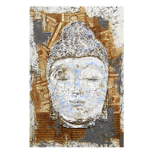 Original 3D Indian Acrylic Buddha Head Wall Art Painting