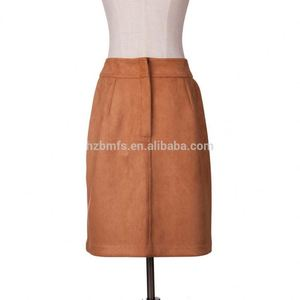 Elegant Faux Suede Skirt Design High Waist Suede Button Up Skirt