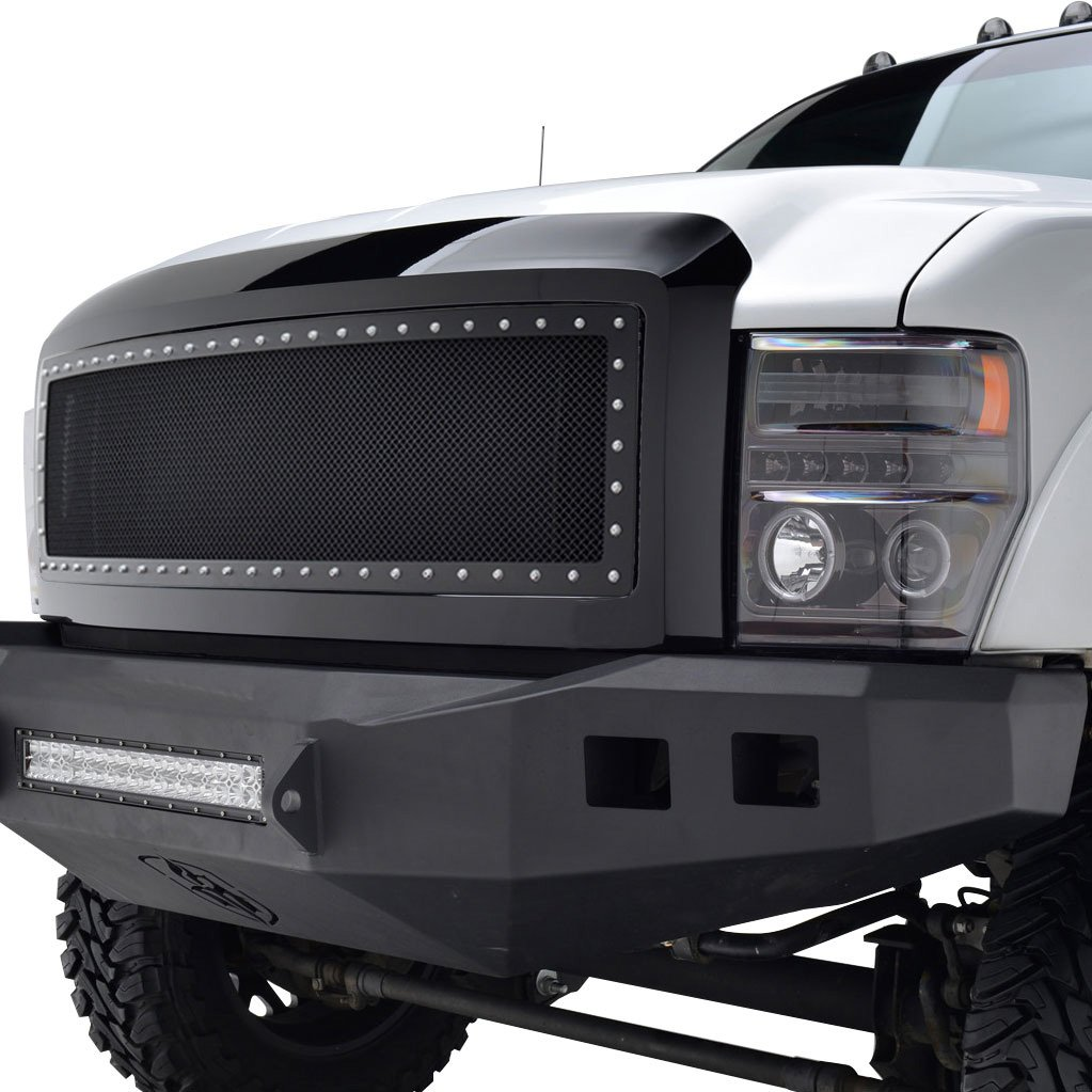 E-Autogrilles 08-10 Ford Super Duty F-250 / 08-10 Ford Super Duty F-350 Rivet All Black Stainless Steel Wire Mesh Packaged Grille (46-0203)